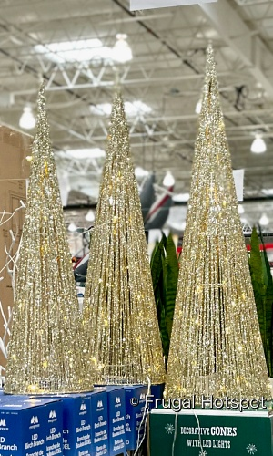 Glitter String LED Cone Trees 3-Piece Set gold | Costco Display