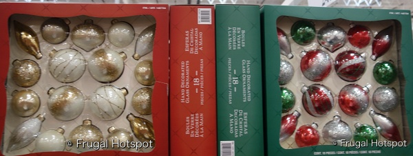 Hand Decorated Glass Ornaments 18 Piece Set gold and white and red green silver | Costco