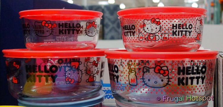 Hello Kitty Pyrex Glass Food Storage Containers   Costco Display
