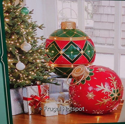 Oversized Ornament with LED Lights | green and red | Costco
