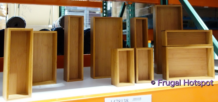 Seville Classics Bamboo Organizing Boxes 10 pieces | Costco Display angled view