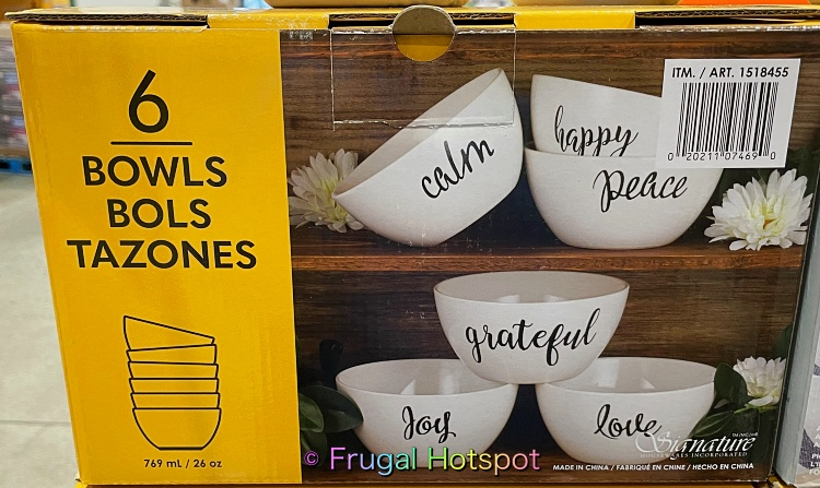 Signature Housewares Bowls with Inspirational Words 6 pc | Costco 1518455