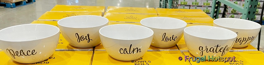 Signature Housewares Bowls with Inspirational Words 6 pc | Costco Display