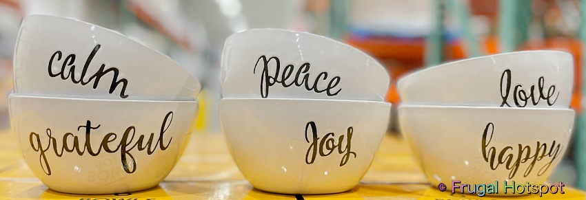 Signature Housewares Bowls with Inspirational Words | Costco Display 1518455