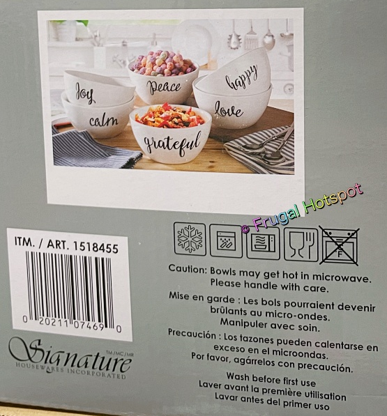 Signature Housewares Bowls with Inspirational Words | info | Costco